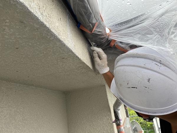 長崎県長崎市 外壁塗装 中塗り ローラー工法と吹き付け工法の違い 無機系塗料ダイヤスーパーセランフレックス (2)